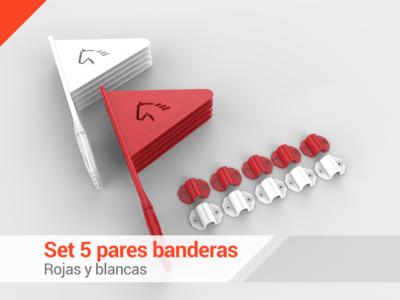 Set de 5 pares  Banderas  con soportes (rojas y blancas)